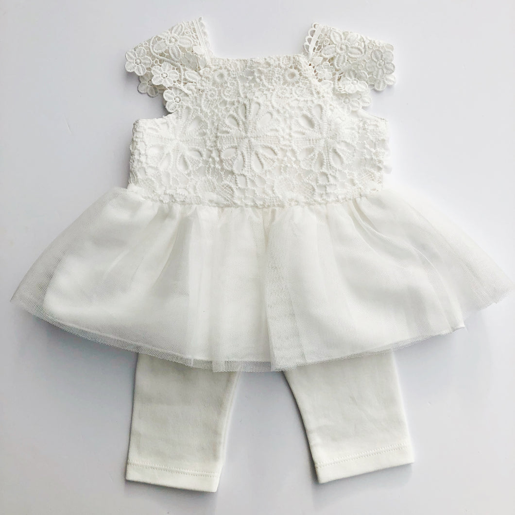 Mintini Baby White Dress and Leggings Set