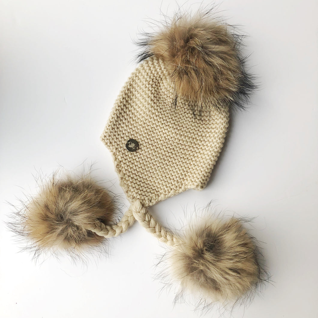 Little Valentines Beige Triple Fur Pom Pom Hat