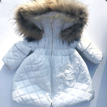 Bufi Girls White Diamanté Puffer Coat