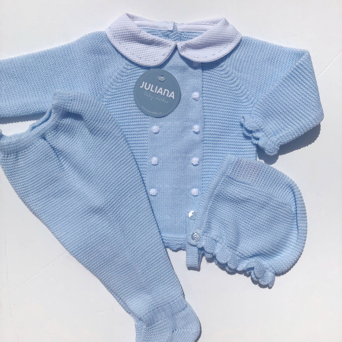 Juliana Baby Blue 3 Piece Babysuit Set