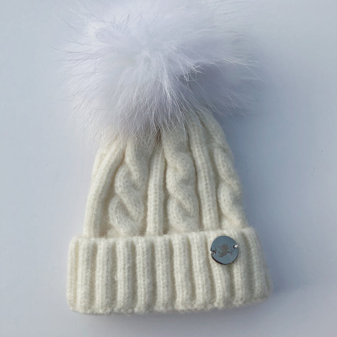 Little Valentines Cable Knit Ivory Fur Pom Pom Hat