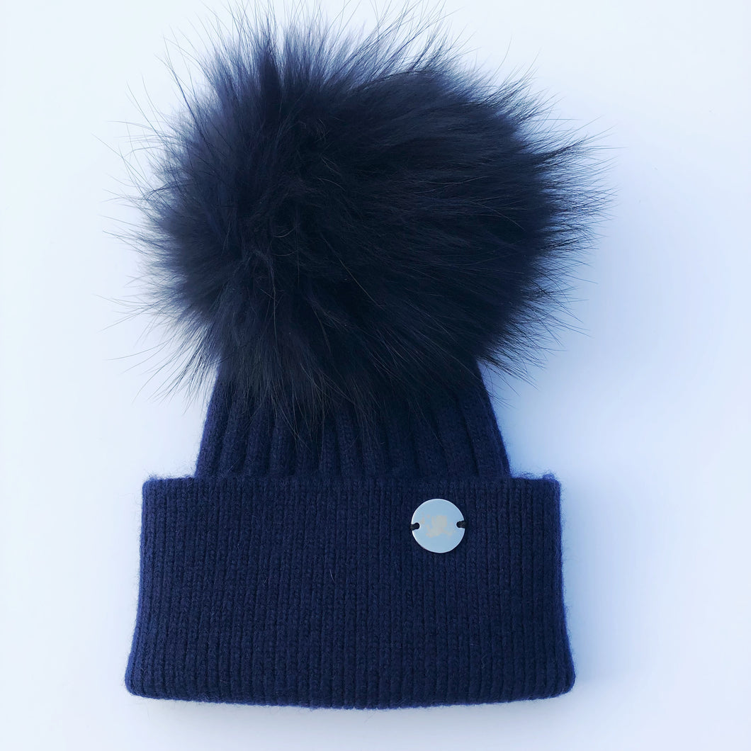 Little Valentines Luxury Angora Navy Fur Pom Pom Hat