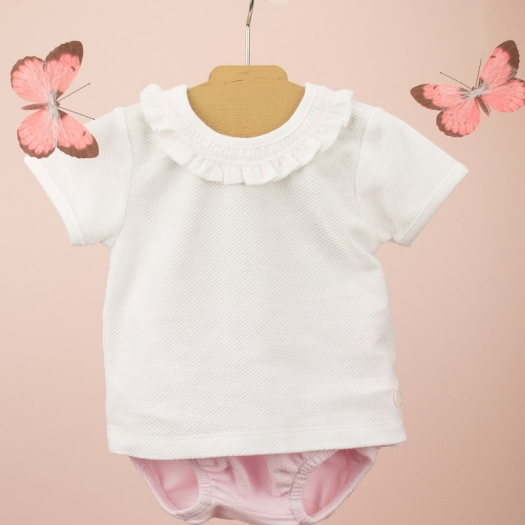 Babidu Girls Pink and White Shorts Set