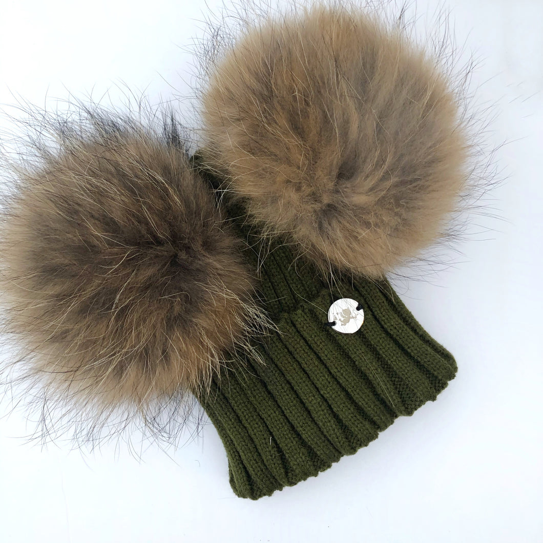 Little Valentines Khaki Double Fur Pom Pom Hat