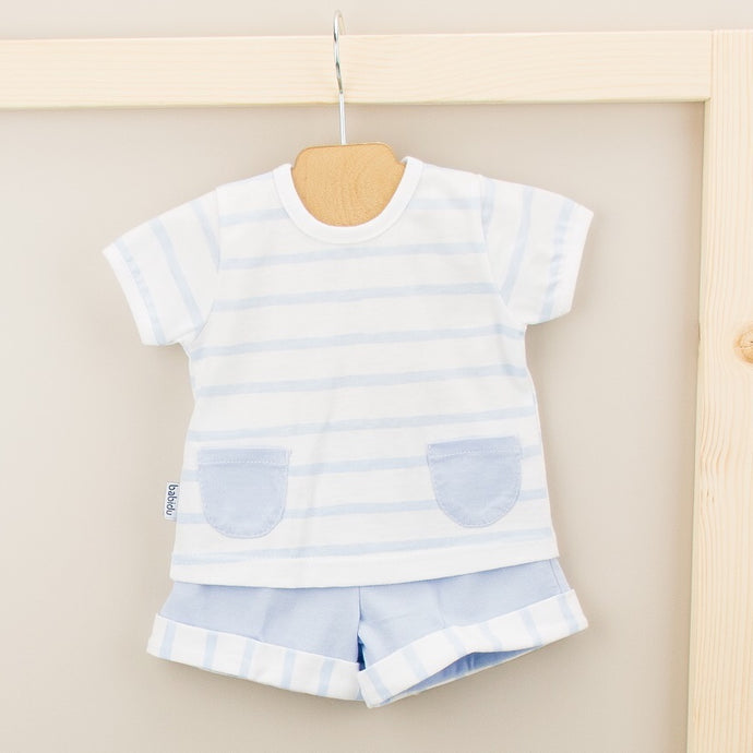 Babidu Boys Blue Stripe Shorts Set