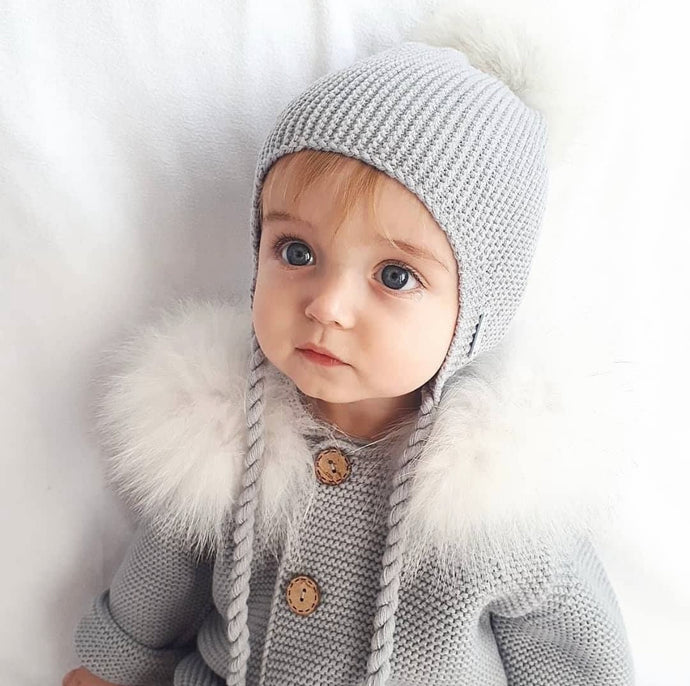 Pangasa Grey Fur Pom Hat