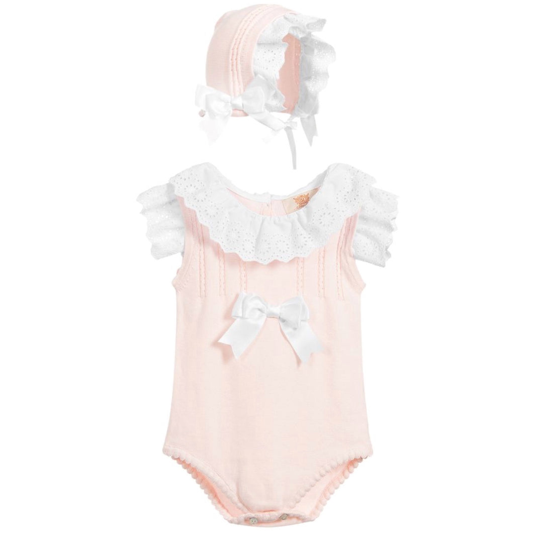 Caramelo Pink and White Shortie Set
