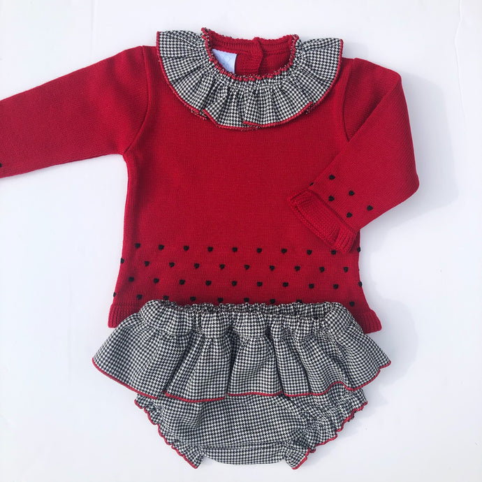 Granlei Girls Red  and Black Shorts Set