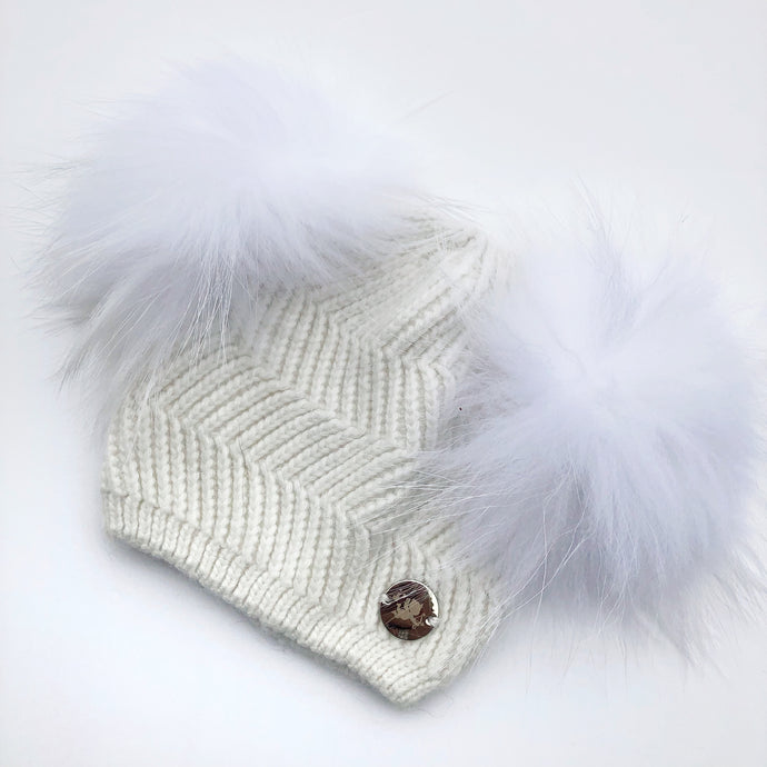 Little Valentines Ivory Double Fur Pom Pom Angora Hat