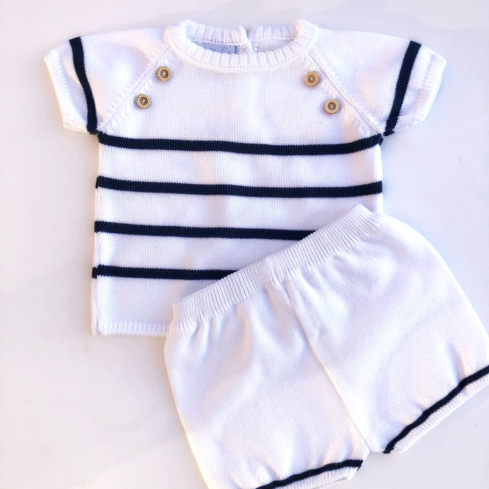 Granlei Boys Blue and White Knitted Shorts Set