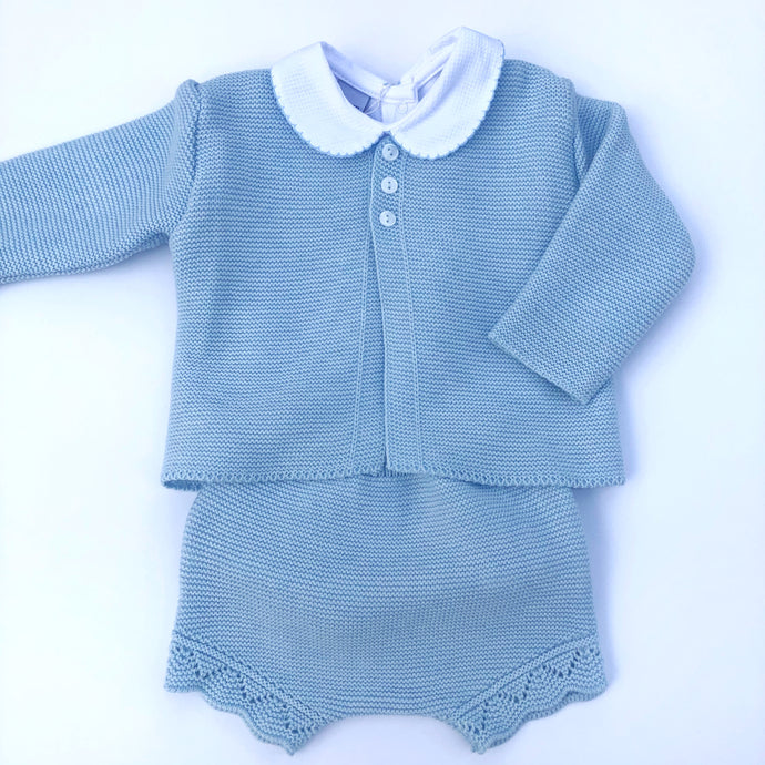 Babidu Blue Knitted Shorts 3pc Set