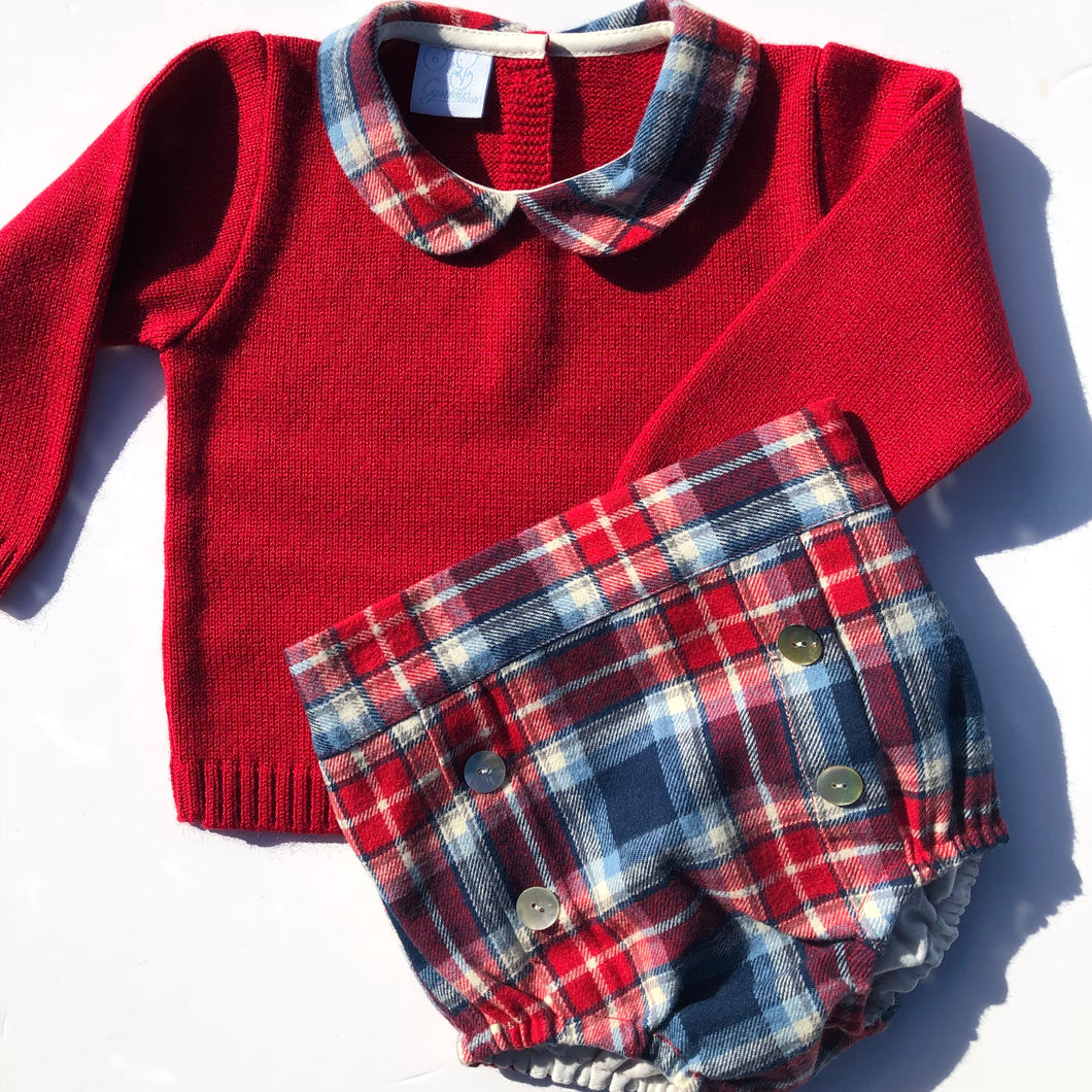 Granlei Boys Red Checked Shorts Set
