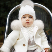 Pangasa Ivory Knitted Jacket with Fur Trim