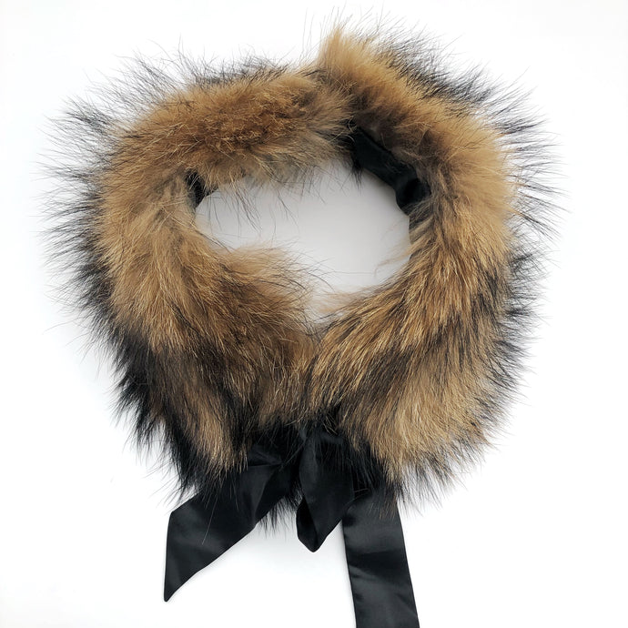 Natural Fur Collar with Satin Bow