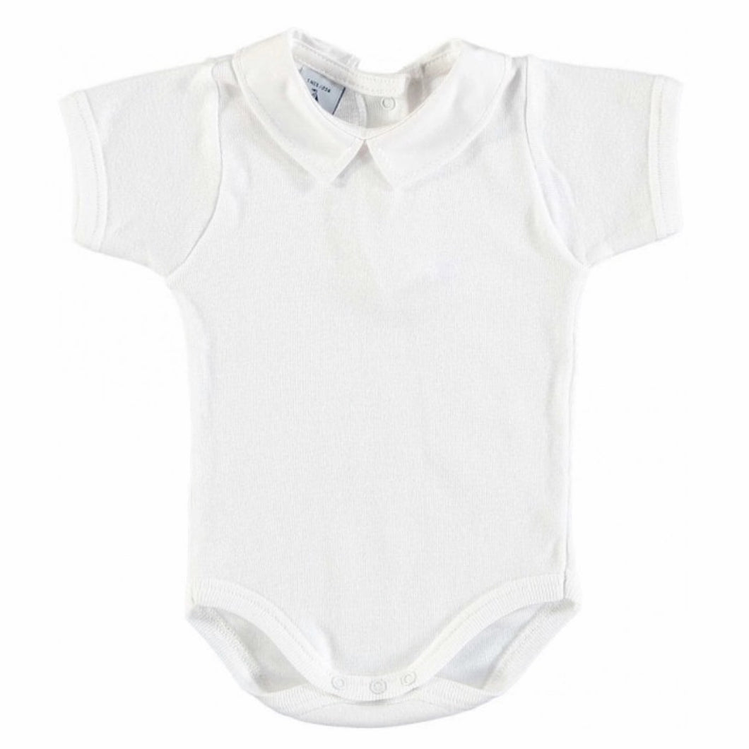 Babidu White Short Sleeve Bodysuit with Collar
