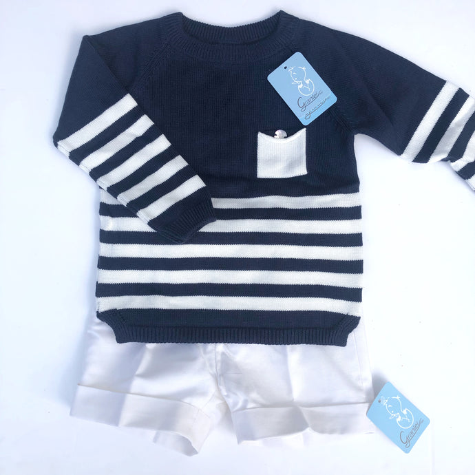 Granlei Blue and Ivory Stripe Boys Shorts Set