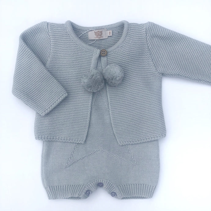Caramelo Grey Knitted Romper and Cardigan Set