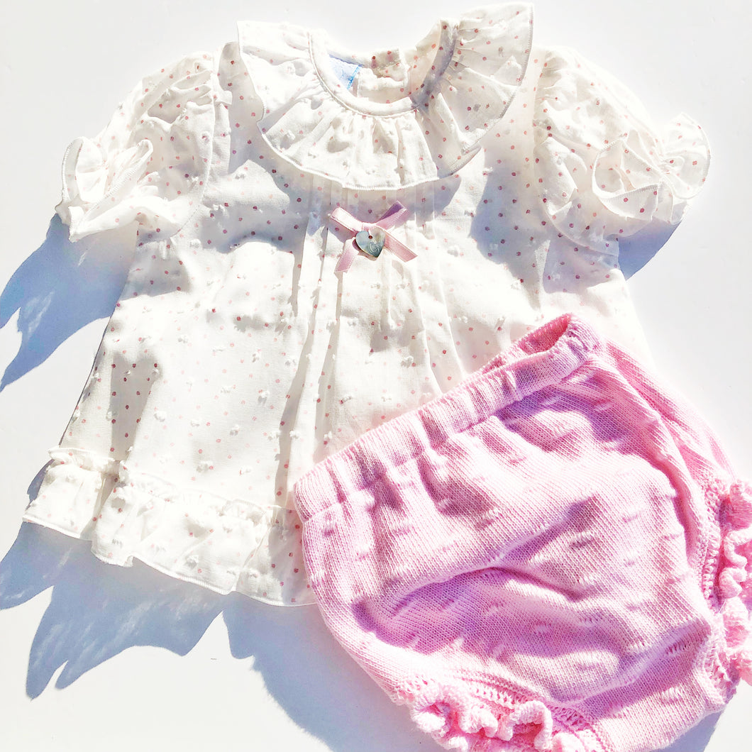 Granlei Girls Pink Dotty Cotton Outfit