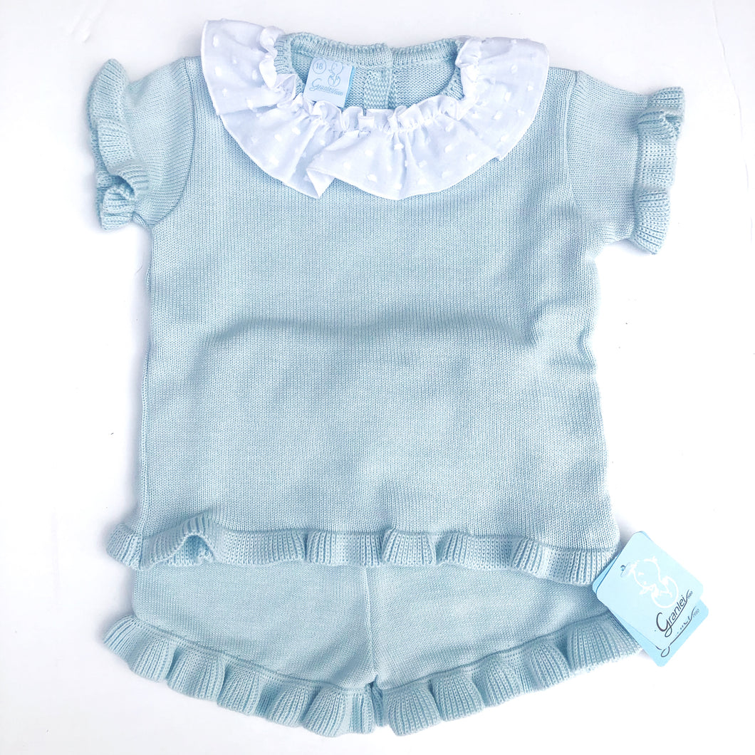 Granlei Girls Mint Short Sleeve Set Frill Collar