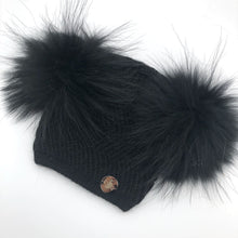 Little Valentines Black Double Fur Pom Pom Angora Hat