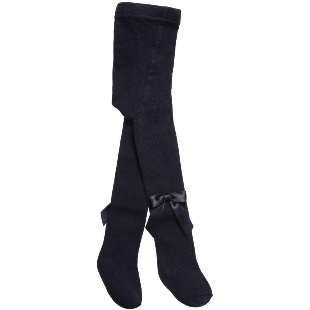 Carlomagno Girls Navy Blue Bow Tights