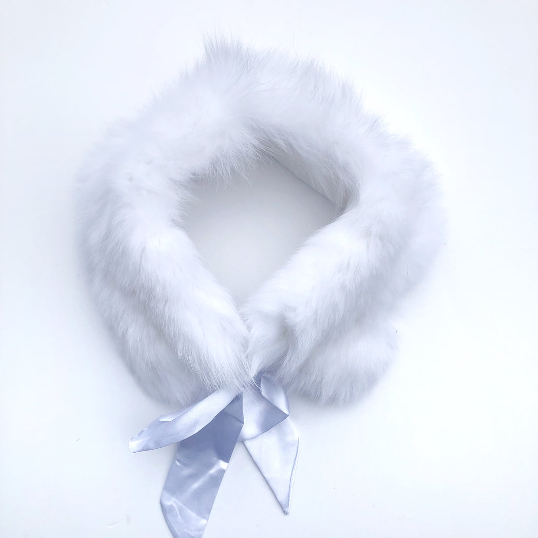 White Fur Collar with Satin Bow