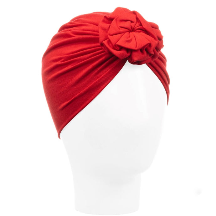 Caramelo Girls Red Flower Turban