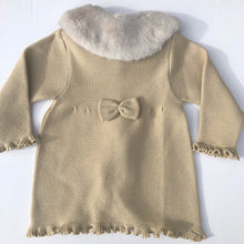 Granlei Girls Gold Knitted Coat with Fur Collar