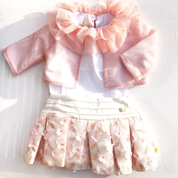 CHUA Girls Peach Chanel Three Piece Set