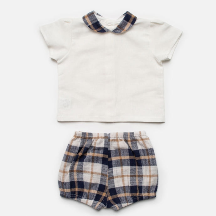Juliana Baby Boys Ivory and Blue Checked Shorts Set
