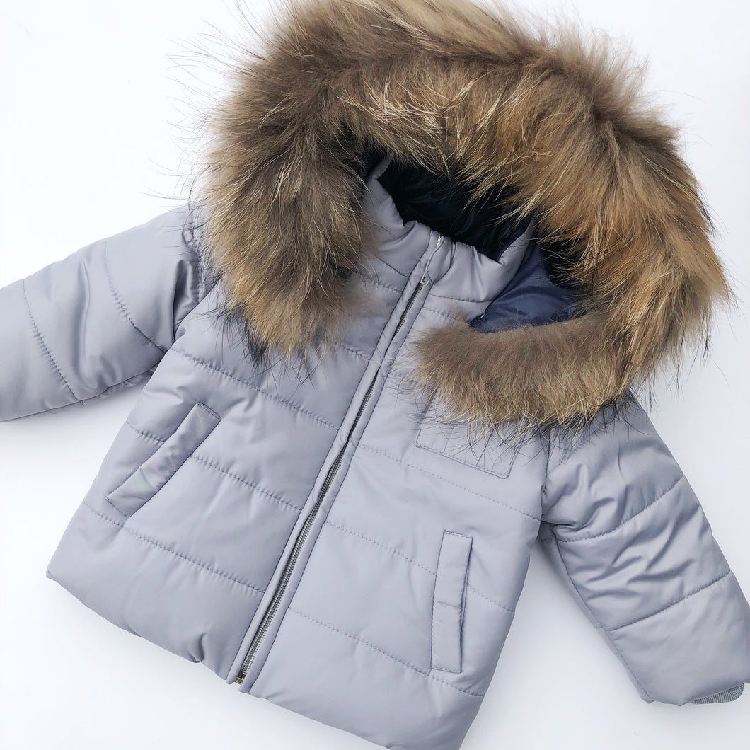 Bufi Boys Grey Padded Puffer Coat
