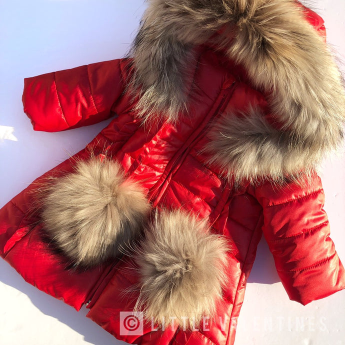 Bufi Girls Red Pom Pom Padded Puffer Coat
