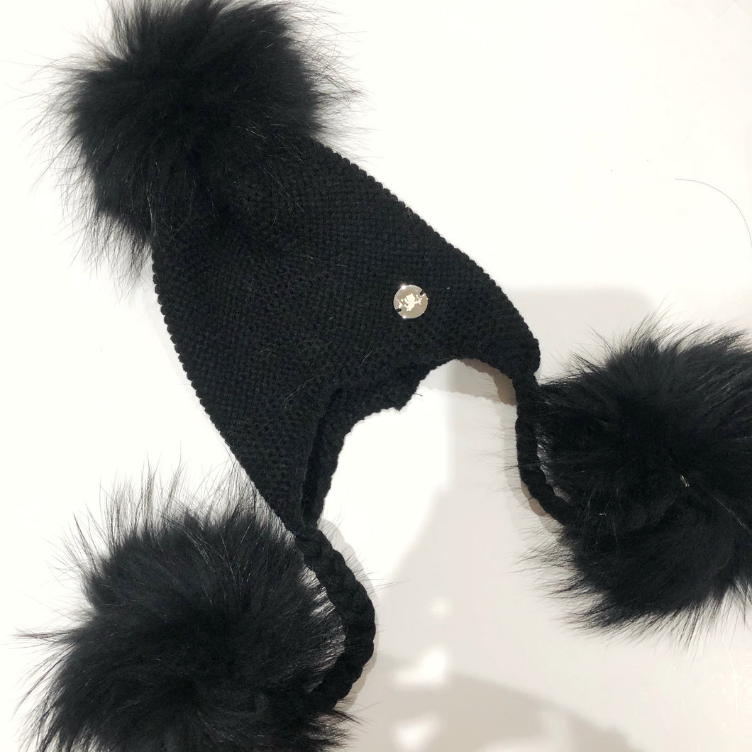 Little Valentines Black Triple Fur Pom Pom Hat