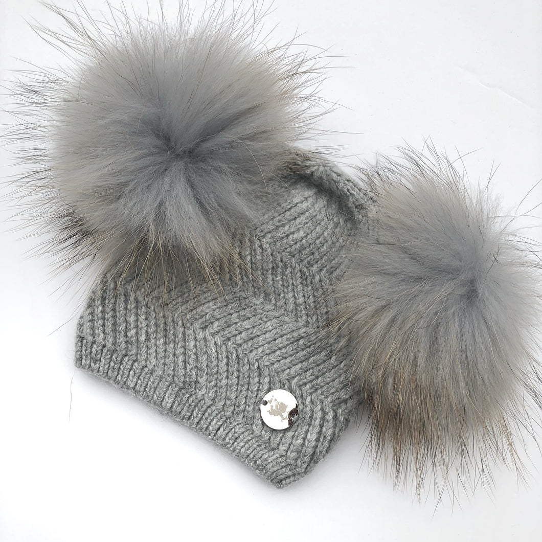 Little Valentines Grey Double Fur Pom Pom Angora Hat