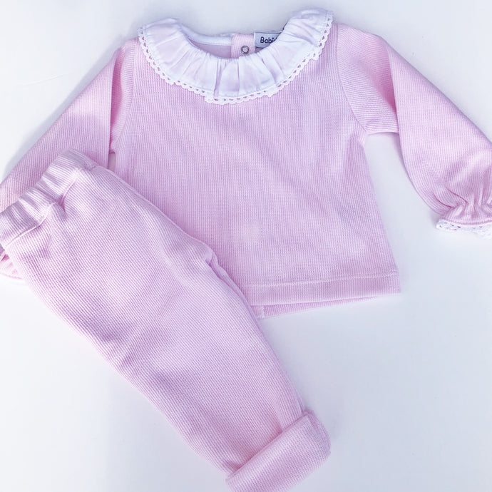 Babidu Pink Cotton Two Piece Set