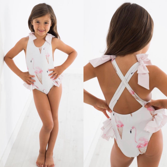 Meia Pata Girls Flamingo Swimsuit