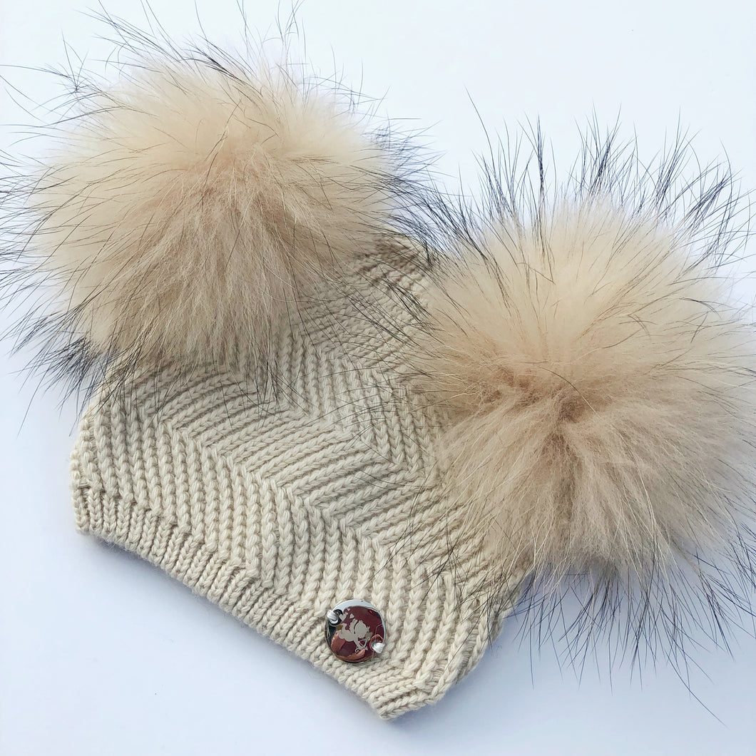 Little Valentines Cream Double Fur Pom Pom Angora Hat