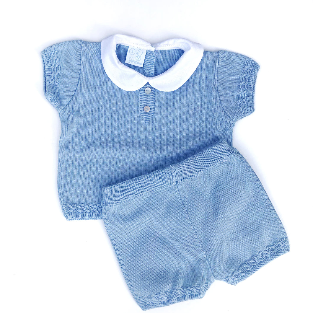 Granlei Boys Blue Cable Trim Shorts Set