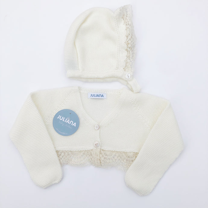 Juliana Baby Ivory Lace Cardigan and Bonnet Set