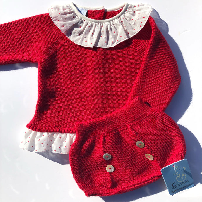 Granlei Girls Red Knitted Shorts Set