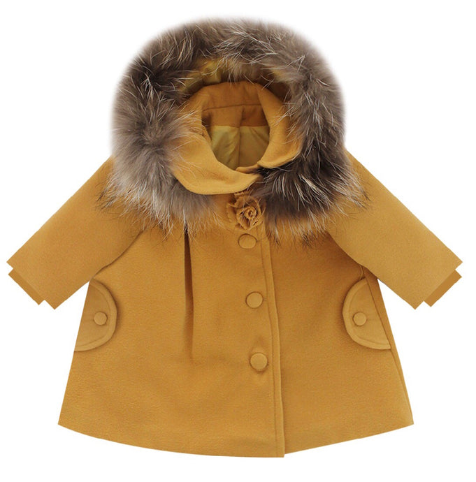 Bufi Girls Mustard Fur Hooded Coat