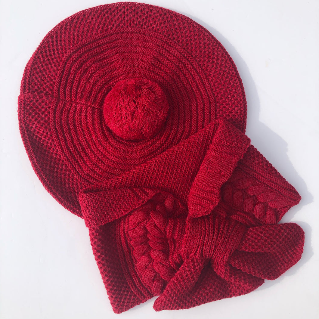 Granlei Girls Red Beret and Scarf Set