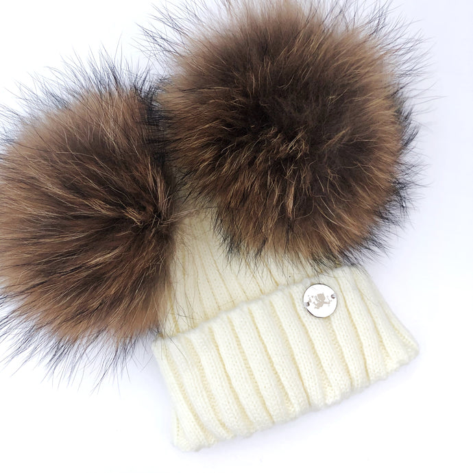 Little Valentines Ivory Double Fur Pom Pom Hat