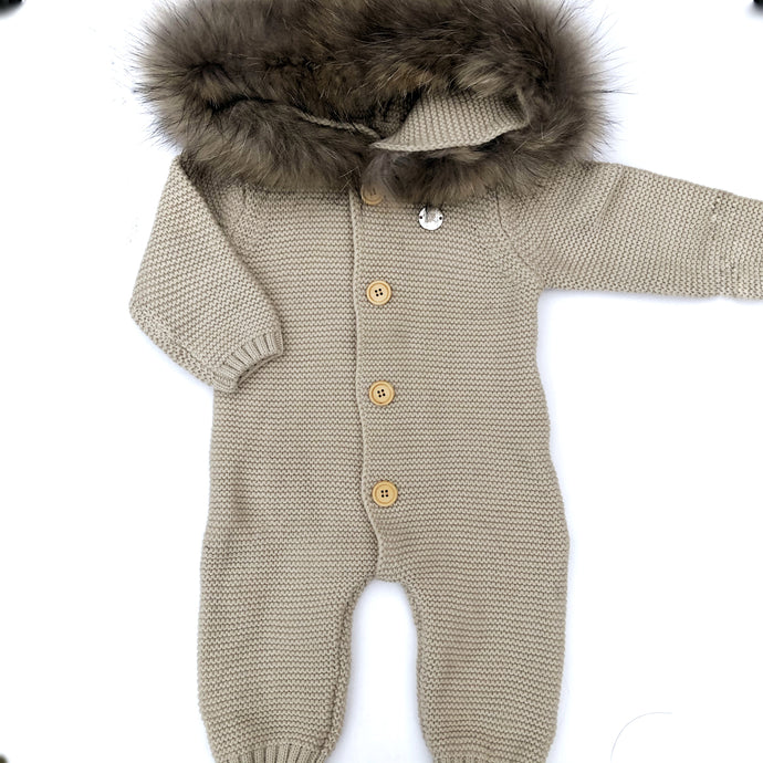Little Valentines Camel Knitted Pramsuit