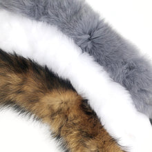 Grey Fur Collar with Satin Bow
