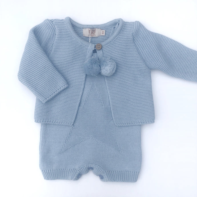 Caramelo Blue Knitted Romper and Cardigan Set