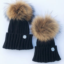 Little Valentines Black Fur Pom Pom Hat