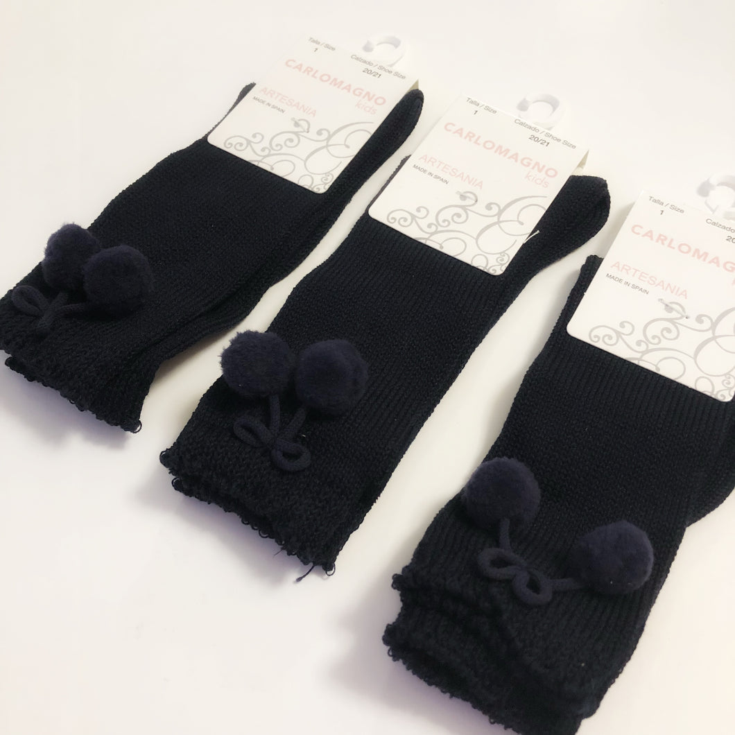 Carlomagno Navy Blue Knee High Pom Pom Socks