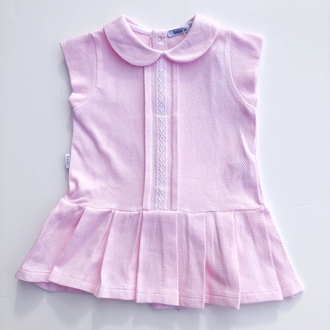 Babidu Pink Cotton Piqué Dress