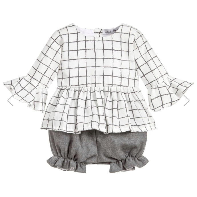 Babidu Girls Grey Cotton Shorts Set